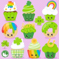 80% OFF SALE St-Paddy's cupcakes clipart commercial use,  vector graphics,  digital clip art, digital images  - CL1064 by Prettygrafikdesign on Etsy