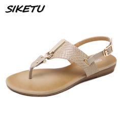 SIKETU New summer women wedge sandals shoes woman metal decoration buckle  flip flip beach sandals plus 2c78e4584232