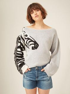 Zizzi Zebra Jumper - Grey