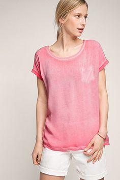 Esprit / Gewaschenes Oversize-Shirt, Material-Mix
