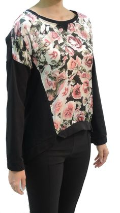 Side back,,Sweatshirt Rose Print,Claudio Ferniani