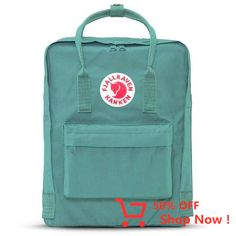 Fjallraven Kanken Backpack Mini - Frost Green With Pink Handles