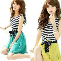 Ladies Chiffon Stripes Collision-color Sleeveless Scoop Neck Splicing Vest Mini Dress Summer