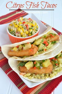 Citrus Fish Tacos - fish tenders, creamy slaw, and citrus salsa wrapped in a tortilla...it's so good!  http://www.insidebrucrewlife.com