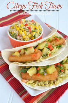 Citrus Fish Tacos - fish tenders, creamy slaw, and citrus salsa wrapped in a tortilla...it's so good!  http://www.insidebrucrewlife.com
