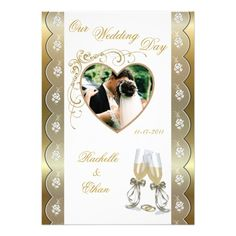 Gold Champagne Glass Wedding Photo Invitations