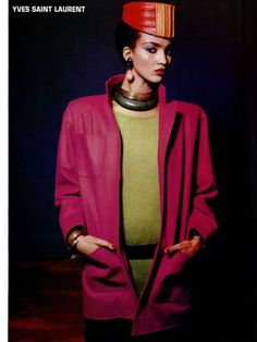 YSL late 80s ? Yves Saint Laurent, 80s And 90s Fashion, Vintage Ysl, Black Models, Supermodels, Fashion Brands, Womens Fashion, 1980s, Style