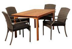 Walt 5-Pc Rectangular Dining Set, Gray | International Home Miami
