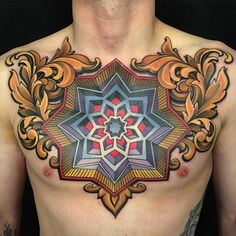 3D Mandala chest tattoo - Amazing mandala chest tattoo in full color. With the bright shades, the details of just the flower seem to jump out and enthrall you.