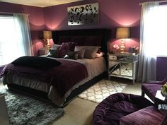 Here's the mostly finished product. I love the shades of silver and gray against the rich purple plum and black. There's a Hollywood glamour feel to the room without being too feminine. I'm still not sure about those white fur trellis rugs but I love how everything else turned out!  Even my husband, who was skeptical when I told him my color choices, loves it now. He says it feels like a 5-star resort. I added a 3-inch gel mattress topper and down comforter to the bed to make it as heavenly…