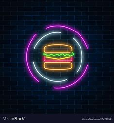 Neon glowing burger sign in circle frames on a vector