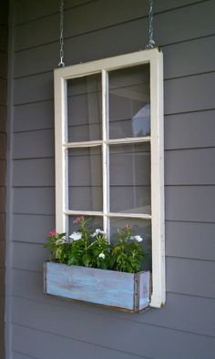 ON SALE Wood window flower box - window frames - antique wood windows - 6 pane wood window pane - wood flower box ideas - wood window ideas Home And Garden, Outdoor Decor, Wood Windows, Window Box Flowers, Front Yard, Wooden Flowers, Window Projects