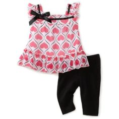 Young Hearts Baby-Girls Infant Chiffon Top With Capri Pant Set $23.80