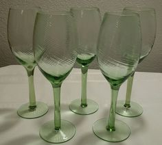 5 Hand Blown Green Glass Tight Swirled Ribbed Wine Glasses EXCELLENT CONDITION #Unknown