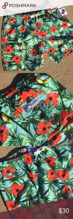 🏊🏽 Men's Swim Trunks ☀️ Toucan Sam Hawaiian Print with built in briefs Trunks  Shorts Athletic
