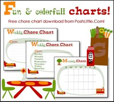 Fun free printable chore charts - I should probably already be using these. Maybe my house would be clean. Reward Chart Kids, Chore Chart Kids, Free Printable Chore Charts, Free Printables, Chore Rewards, Life Organization, Organizing, Weekly Chores, Planner Tips