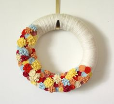 Felt Flower Wreath Summer Wreath Yarn and by TheBakersDaughter, $46.00
