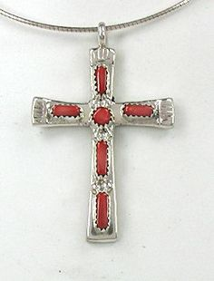 Native American Zuni Sterling Silver Coral Cross Pendant