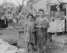 Poor Children & Mom Outside Of Shack 8x10 Reprint Of Old Photo