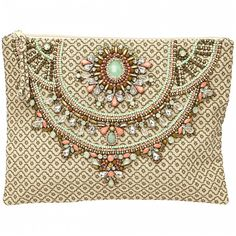 Star Mela Arla Clutch in Khaki ($160) ❤ liked on Polyvore featuring bags, handbags, clutches, purses, accessories, bolsas, star mela, beaded handbag, brown purse and beaded purse