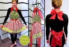 If I were a Who down in Whoville, this would be just what I'd wear to whip up my holiday feast Grinch Christmas Party, Grinch Party, Christmas Aprons, Christmas Costumes, Diy Whoville Costumes, Grinch Costumes, Xmas, Apron Tutorial, Cute Aprons