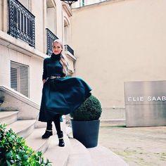 Dark green polo and midi skirt