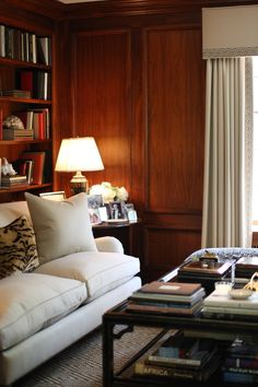 Wood Panel Walls, Paneled Walls, Wood Paneling, Brick Walls, Panelling, Home Libraries, Living Spaces, Living Room, Interior Decorating