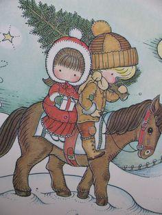 Vintage Joan Walsh Anglund Date Book Calendar Print 1971/1972 - December Christmas Tree Hunt