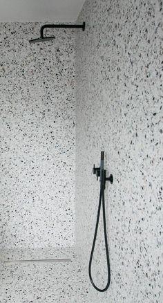 Terrazo Wall Bathroom Ideas - Home of Pondo - Home Design Bathroom Inspo, Bathroom Inspiration, Modern Bathroom, Small Bathroom, Bathroom Ideas, Bathroom Bin, White Bathrooms, Gold Bathroom, Bathroom Cabinets