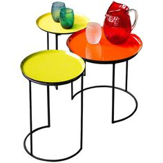 Chehoma Metal & Enamel Tables - Set of 3 (€495) ❤ liked on Polyvore featuring home, furniture, tables, accent tables, table, yellow, metal accent table, metal occasional tables, metal furniture and yellow end table