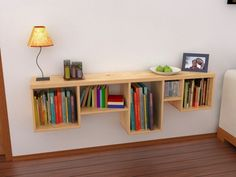 Hanging Wall Shelf! Modern bookshelf, similar to an IKEA design. Interior decor made easy & functional unique furniture