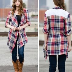 ALL ITEMS $25 Cardi features plaid pattern and lace upper back. Sweaters Cardigans