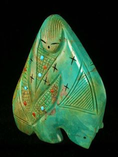 Zuni Indian Fetish Two Sided Turquoise Bear and Corn Maidens Quandelacy