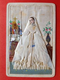 ANTIQUE HOLY CARD COMMUNION GIRL, REAL CLOTH DRESS, MOTHER OF PEARL DECORATION