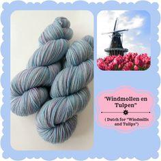 Windmollen en Tulpen - Dutch Flowers | Red Riding Hood Yarns On October 3rd, Red Riding Hood, Teal, Blue, Yarns, Pastels, Holland, Dutch, Initials