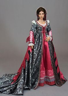fantasy Renaissance gown was designed to fit an Iplehouse doll by Martha Boers Alexander Grassner Große 46 Barbie Dress, Barbie Clothes, Barbie Doll, Pretty Dolls, Beautiful Dolls, Renaissance Fashion, Italian Renaissance Dress, Renaissance Gown, Vestidos Vintage