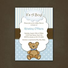 love the blue/brown teddy bear theme idea for boy baby shower! Boy Teddy Bear Baby Shower Invitation by PinkSkyPrintables on Etsy, $12.00