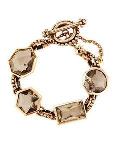 Stephen DWECK Smoky QUARTZ Bronze Gold Tone Bracelet Cuff Bangle Statement NEW #StephenDweck #Statement