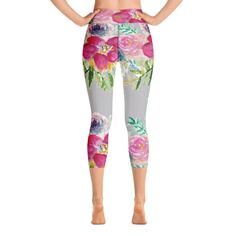 d438d2d934cb37 Fumika Pink Garden Floral Rose Print Women's Yoga Capri Leggings Pants -  Made in USA (US Size: XS-XL)