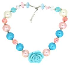 Aqua & Pink Chunky Necklace with Rosettes - Made out of darling beads and bubble gum big beads we couldn't be more excited to introduce this new line to our customers.  These make wonderful props for photo taking. #alwaysunderpay