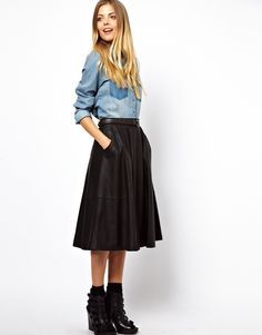 ASOS - Jupe mi-longue en cuir avec poches