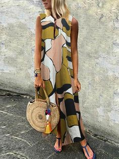 Description Product Name Casual cotton/linen printed sleeveless dress SKU Material cotton/linen Style Casual Occasion Daily life Product no. Please Note All dimensions are measured manually with a deviation of 1 to Size Bust Hips Waist S M L Daily Dress, Summer Dresses For Women, Dress Summer, Summer Outfits, Summer Sundresses, Party Outfits, Spring Dresses, Maxi Dress With Sleeves, Sleeve Dresses