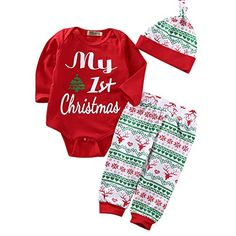 3PCS Babys My First Christmas Bodysuit Romper With Snowflake Pant And Hat Outfits (6-12 Months, Red)