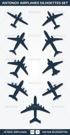 Antonov Airplanes Silhouettes Set