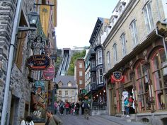 a street of the Old Quebec, full of nice original shops, we love to shop there :) This neighborhood is called the Petit Champlain, with the funicular in the back. Old Quebec, Quebec City, Beautiful Castles, Beautiful Places, Great Places, Places Ive Been, Greenland Iceland, Le Petit Champlain, Old Montreal