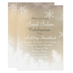 Elegant gold ombre Snowflake Winter Sweet 16 Card - invitations custom unique diy personalize occasions