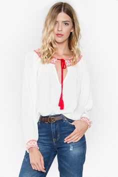 e384644aad73 Image of  MELINDA  Peasant Tassel Top Peasant Tops