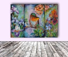 ARTFINDER: Humming Around - Hummingbird with Iri... by Soos Roxana Gabriela - A gorgeous hummingbird in a floral context oil painting, made with professional oils on 3 stretched canvas - Gallery Quality. 70x50x4 cm - 3 pcs of 20x50, 3...