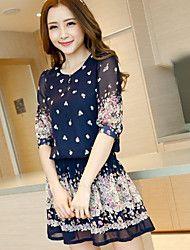 Woman's Floral Print Chiffon Bohemia Mini Dress  – USD $ 6.36