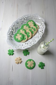 Two Colored Clover Cookies for St. Patrick's Day